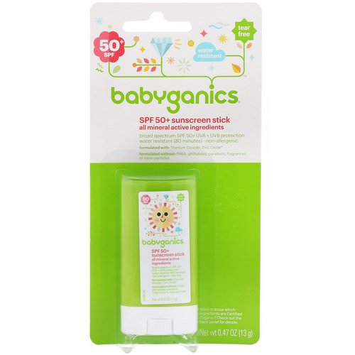 BabyGanics, Sunscreen Stick, SPF 50+, 0.47 oz (13 g) فوائد