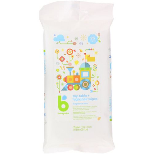 BabyGanics, Toy, Table + Highchair Wipes, Fragrance Free, 25 Wipes فوائد