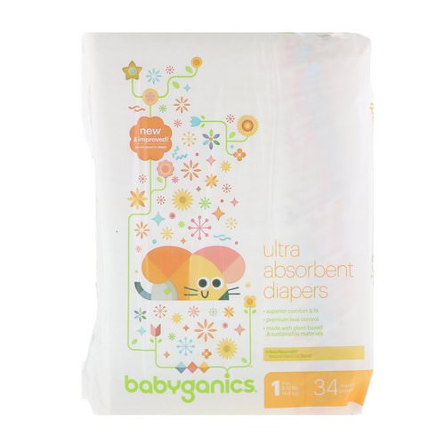 BabyGanics, Ultra Absorbent Diapers, Size 1, 8-14 lbs (4-6 kg), 34 Diapers فوائد