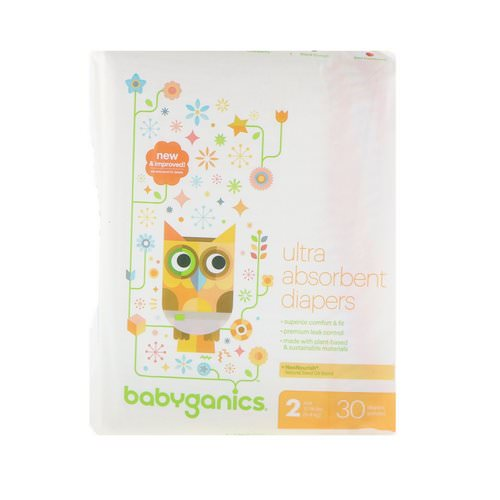 BabyGanics, Ultra Absorbent Diapers, Size 2, 12-18 lbs (5-8 kg), 30 Diapers فوائد