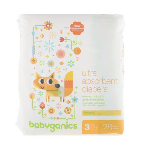BabyGanics, Ultra Absorbent Diapers, Size 3, 16-28 lbs (7-13 kg), 28 Diapers فوائد