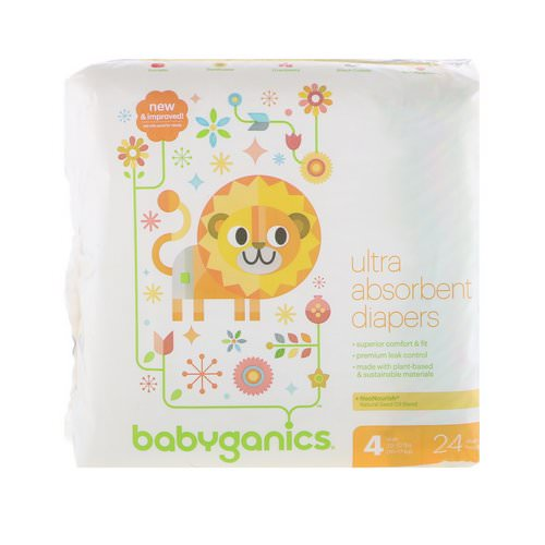 BabyGanics, Ultra Absorbent Diapers, Size 4, 22-37 lbs, (10-17 kg), 24 Diapers فوائد