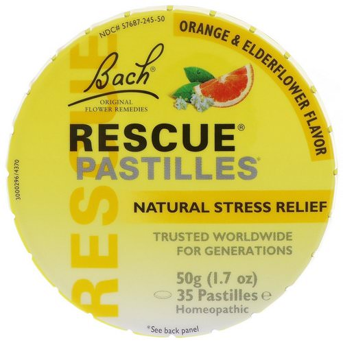 Bach, Original Flower Remedies, Rescue Pastilles, Natural Stress Relief, Orange & Elderflower, 35 Pastilles, 1.7 oz (50 g) فوائد