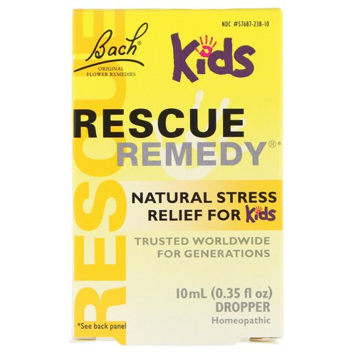 Bach, Original Flower Remedies, Rescue Remedy, Natural Stress Relief for Kids, Dropper, Alcohol-Free Formula, 0.35 fl oz (10 ml) فوائد