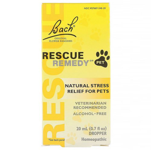 Bach, Original Flower Remedies, Rescue Remedy Pet, 0.7 fl oz (20 ml) فوائد