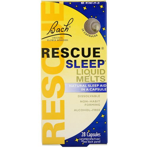 Bach, Original Flower Remedies, Rescue Sleep Liquid Melts, 28 Capsules فوائد