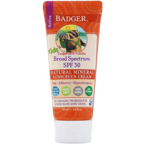 Badger Company, Active Kids, Natural Mineral Sunscreen Cream, SPF 30 PA+++, Tangerine & Vanilla, 2.9 fl oz (87 ml) فوائد