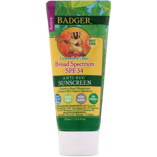 Badger Company, Anti-Bug Sunscreen, SPF 34 PA+++, Citronella & Cedar, 2.9 fl oz (87 ml) فوائد