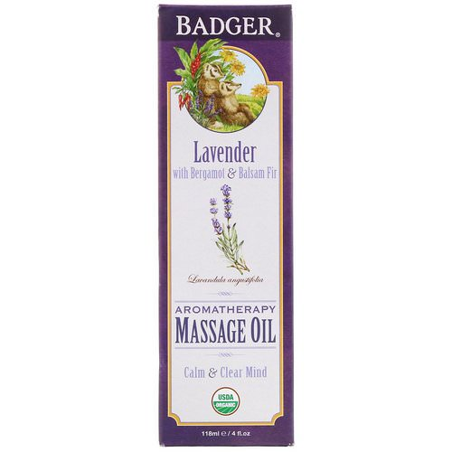 Badger Company, Aromatherapy Massage Oil, Lavender with Bergamot & Balsam Fir, 4 fl oz (118 ml) فوائد