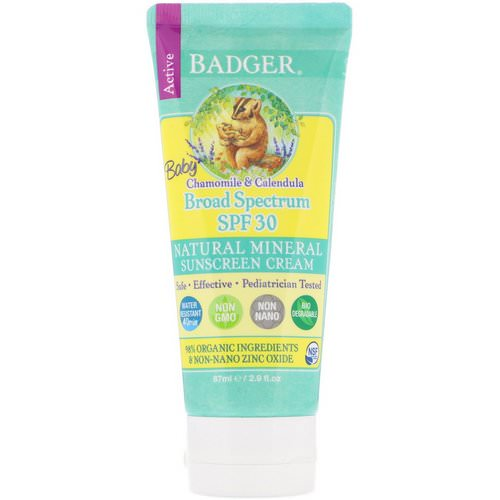 Badger Company, Baby Sunscreen Cream, SPF 30 PA+++, Chamomile & Calendula, 2.9 fl oz (87 ml) فوائد