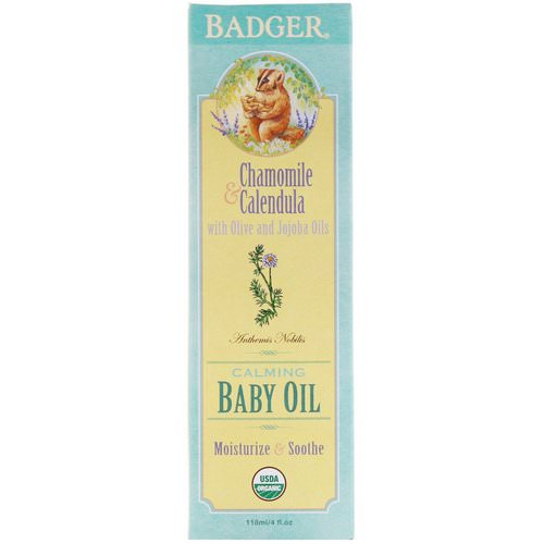 Badger Company, Calming Baby Oil, Chamomile & Calendula, 4 fl oz (118 ml) فوائد