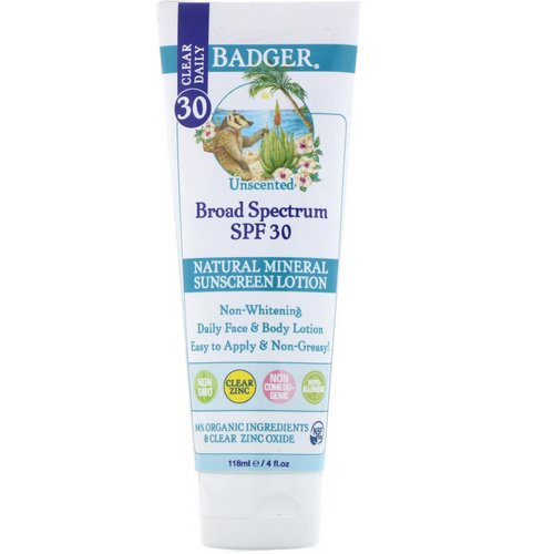Badger Company, Clear Daily, Natural Mineral Sunscreen Lotion, Clear Zinc, SPF 30, Unscented, 4 fl oz (118 ml) فوائد