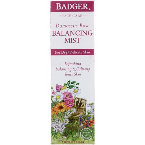 Badger Company, Damascus Rose, Balancing Mist, 4 fl oz (118 ml) فوائد