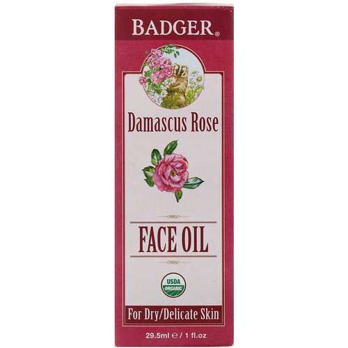 Badger Company, Face Oil, Damascus Rose, For Dry, Delicate Skin, 1 fl oz (29.5 ml) فوائد