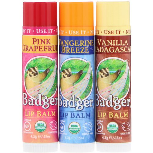 Badger Company, Lip Balm Gift Set, Red Box, 3 Pack, .15 oz (4.2 g) Each فوائد