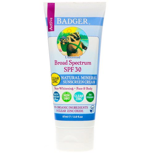 Badger Company, Natural Mineral Sunscreen Cream, Clear Zinc, SPF 30, Unscented, 2.9 fl oz (87 ml) فوائد