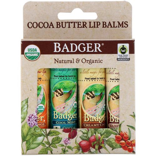 Badger Company, Organic, Cocoa Butter Lip Balms Set, 4 Pack, .25 oz (7 g) Each فوائد