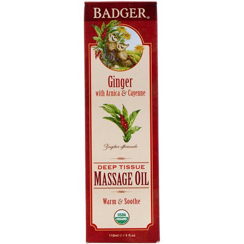 Badger Company, Organic, Deep Tissue Massage Oil, Ginger with Arnica & Cayenne, 4 fl oz (118 ml) فوائد