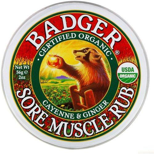 Badger Company, Organic, Sore Muscle Rub, Cayenne & Ginger, 2 oz (56 g) فوائد