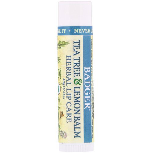Badger Company, Organic, Tea Tree & Lemon Balm Herbal Lip Care, .15 oz (4.2 g) فوائد