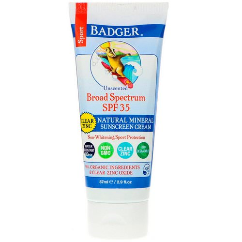 Badger Company, Sport, Natural Mineral Sunscreen Cream, Clear Zinc, SPF 35, Unscented, 2.9 fl oz (87 ml) فوائد