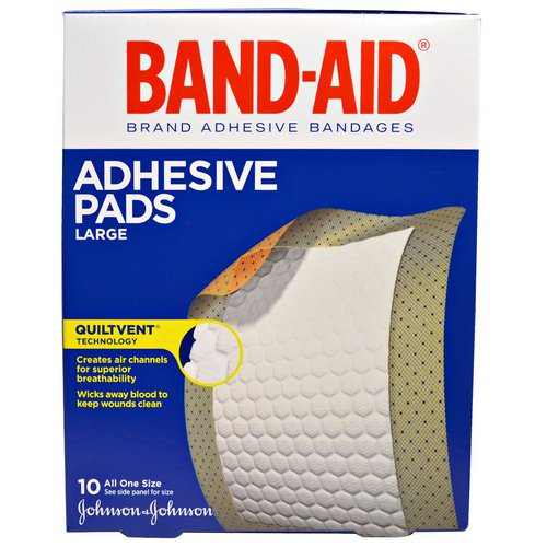 Band Aid, Adhesive Bandages, Adhesive Pads, Large, 10 Pads فوائد
