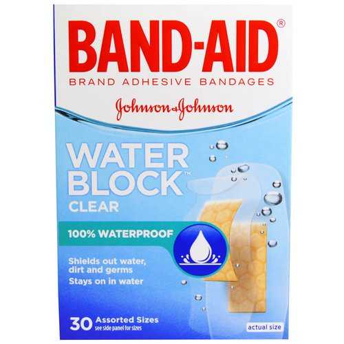 Band Aid, Adhesive Bandages, Water Block, Clear, 30 Assorted Sizes فوائد