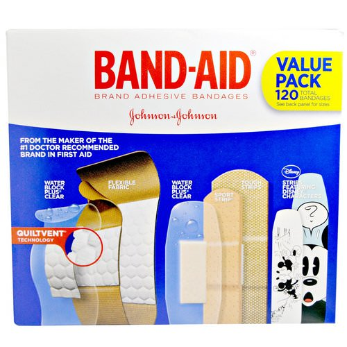 Band Aid, Adhesive Strips, Bandages, Value Pack, 5 Cartons, 120 Bandages فوائد