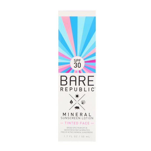 Bare Republic, Mineral Sunscreen Lotion, Tinted Face, SPF 30, 1.7 fl oz (50 ml) فوائد