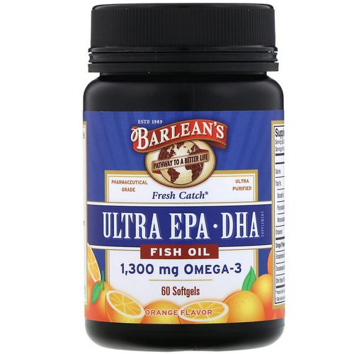 Barlean's, Fresh Catch Fish Oil, Omega-3, Ultra EPA/DHA, Orange Flavor, 60 Softgels فوائد