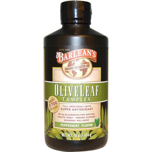 Barlean's, Olive Leaf Complex, Peppermint Flavor, 16 oz (454 g) فوائد