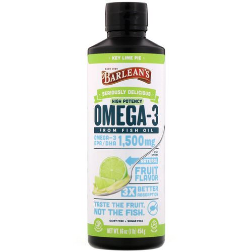 Barlean's, Omega-3 Fish Oil, Key Lime Pie, 16 oz (454 g) فوائد