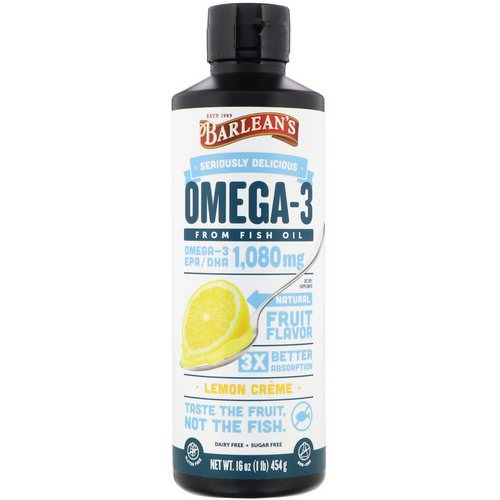 Barlean's, Omega-3, Fish Oil, Lemon Creme, 16 oz (454 g) فوائد