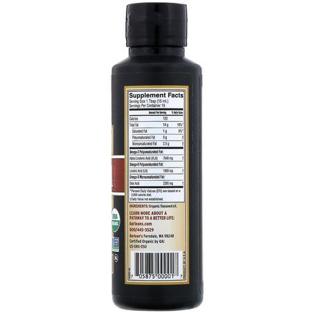 Barlean's, Organic, Fresh Flax Oil, 8 fl oz (236 ml):مكملات بذ,ر الكتان, Omegas EPA DHA