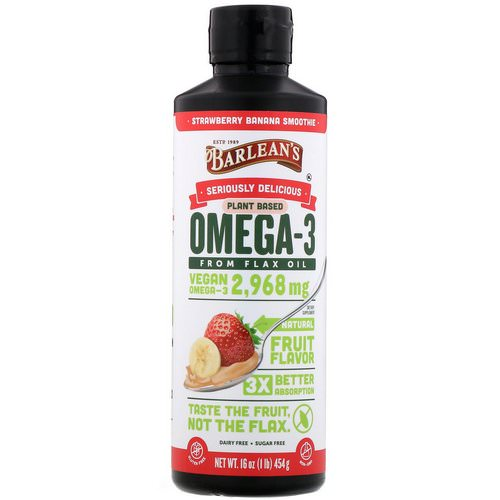 Barlean's, Seriously Delicious, Omega-3 Fish Oil, Strawberry Banana Smoothie, 16 oz (454 g) فوائد