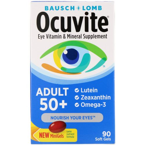 Bausch & Lomb, Ocuvite, Adult 50+, Eye Vitamin & Mineral Supplement, 90 Soft Gels فوائد