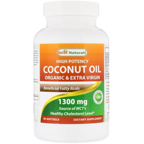 Best Naturals, High Potency Coconut Oil, Organic & Extra Virgin, 1300 mg, 90 Softgels فوائد