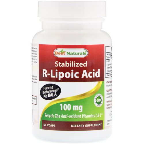 Best Naturals, Stabilized R-Lipoic Acid, 100 mg, 60 VCaps فوائد