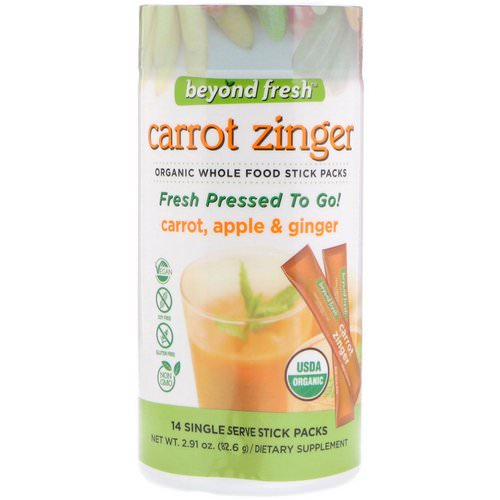 Beyond Fresh, Carrot Zinger, Carrot, Apple & Ginger, 14 Single Serve Stick Packs فوائد