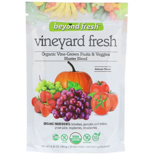 Beyond Fresh, Vineyard Fresh, Organic Vine-Grown Fruits & Veggies Master Blend, Natural Flavor, 6.35 oz (180 g) فوائد