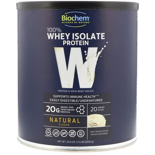 Biochem, 100% Whey Isolate Protein, Natural Flavor, 1.53 lbs (699 g) فوائد