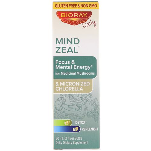 Bioray, Mind Zeal, Focus & Mental Energy, Alcohol Free, 2 fl oz (60 ml) فوائد