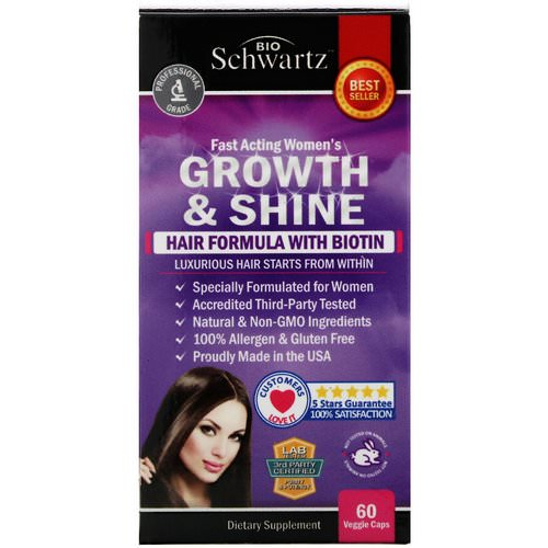 BioSchwartz, Fast Acting Women's Growth & Shine, Hair Formula with Biotin, 60 Veggie Caps فوائد