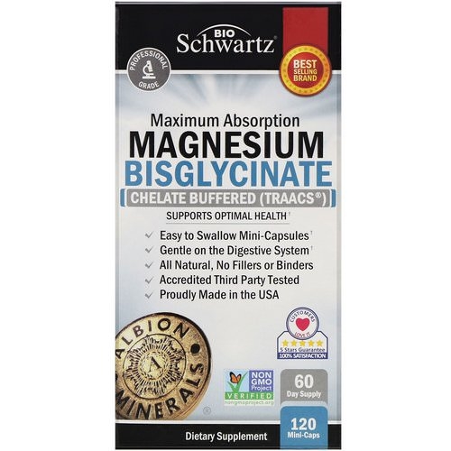BioSchwartz, Maximum Absorption Magnesium Bisglycinate, 120 Mini-Caps فوائد