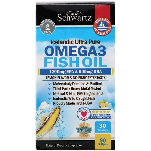 BioSchwartz, Omega 3 Fish Oil, Lemon Flavor, 1200 mg EPA & 900 mg DHA, 90 Softgels فوائد