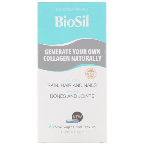BioSil by Natural Factors, Advanced Collagen Generator, 60 Small Vegan Liquid Capsules فوائد