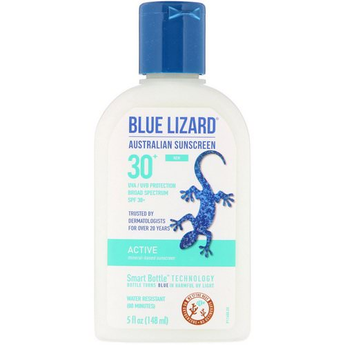 Blue Lizard Australian Sunscreen, Active, Mineral-Based Sunscreen, SPF 30+, 5 fl oz (148 ml) فوائد