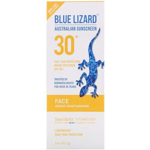 Blue Lizard Australian Sunscreen, Face, Mineral-Based Sunscreen, SPF 30+, 5 oz (141.7 g) فوائد