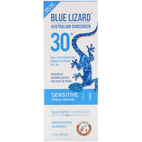 Blue Lizard Australian Sunscreen, Sensitive, Mineral Sunscreen, SPF 30+, 5 fl oz (148 ml) فوائد