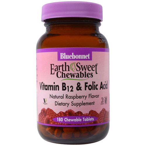 Bluebonnet Nutrition, EarthSweet Chewables, Vitamin B-12 & Folic Acid, Natural Raspberry Flavor, 180 Chewable Tablets فوائد